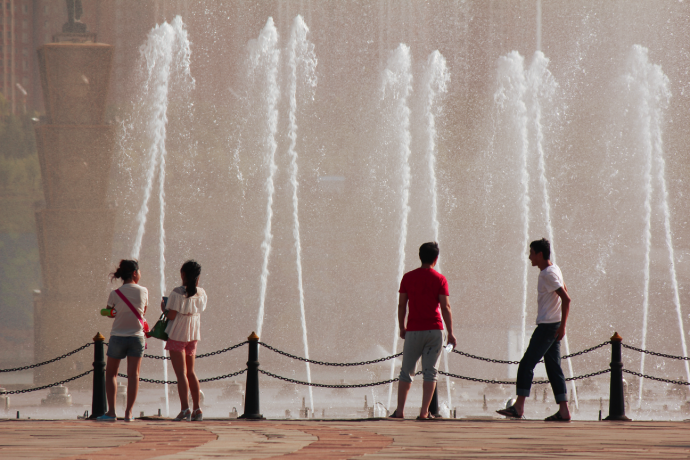 people by fountains