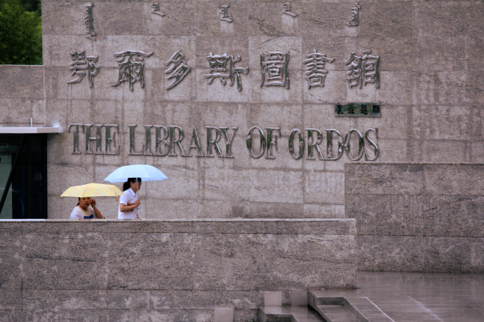 umbrella women library
